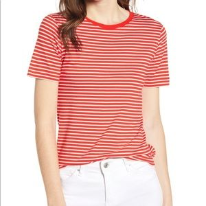 Alex Mill Striped Shrunken Tee Natural Tomato Lrg